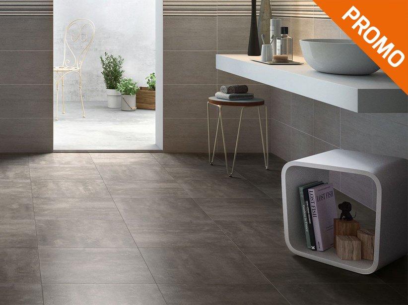 Gres porcellanato effetto cemento semilucido iperceramica - Gres porcellanato effetto legno per bagno ...