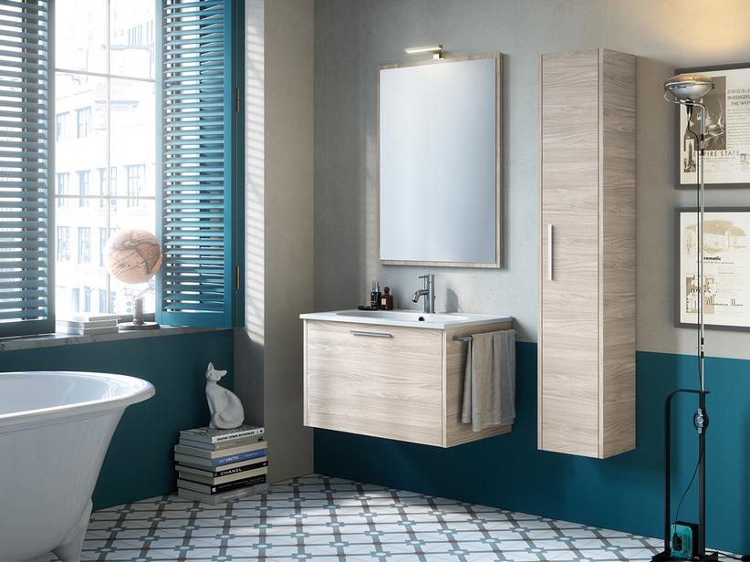 Mobile bagno smile 75 cm larice avana con lavabo in resina iperceramica - Lavabo bagno in resina ...