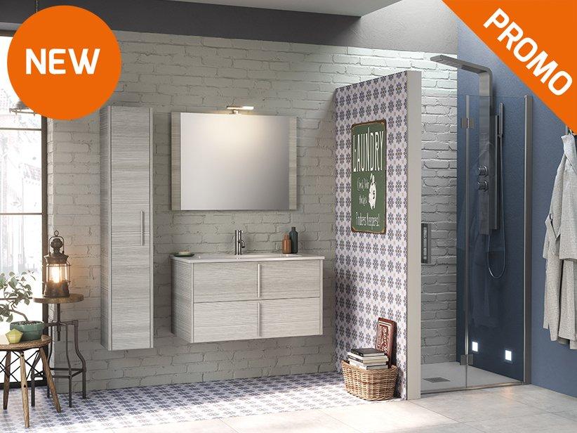 Mobile bagno moderno sospeso bianco lucido cm lavabo ceramica