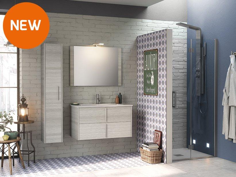 Mobile bagno smile 90 cm larice grigio con lavabo in for Offerta mobili bagno