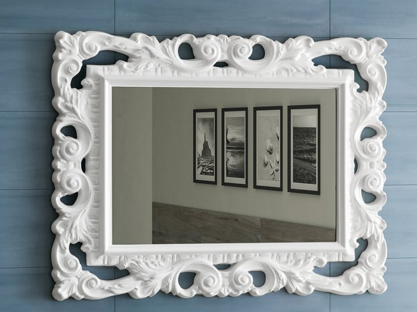 Barockspiegel 94x75 weiss matt iperceramica