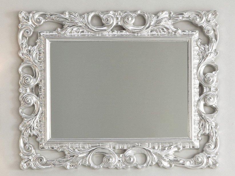 Specchio barocco 94x75 foglia argento iperceramica for Specchio cornice nera barocca