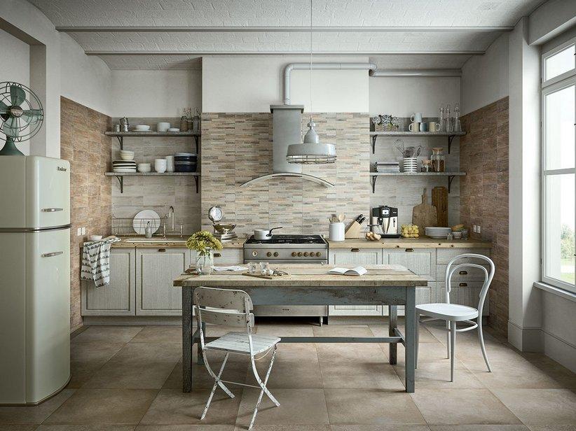 Rivestimento cucina in bicottura effetto legno taiga iperceramica - Piastrelle cucina rosse ...