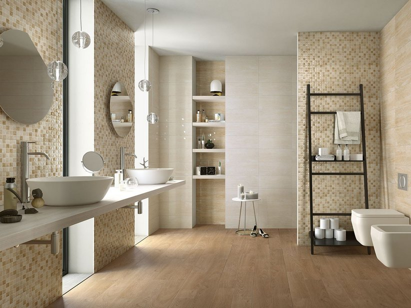 Rivestimento bagno effetto marmo tivoli iperceramica - Piastrelle tipo mosaico ...
