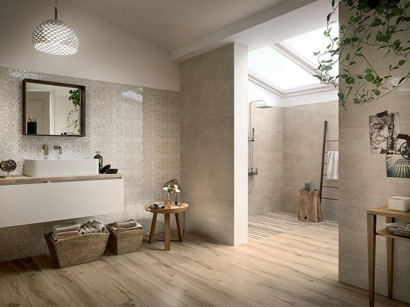 Rivestimento bagno effetto legno multiformato unique iperceramica - Bagno pavimento legno ...