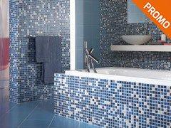 Rivestimenti e piastrelle per un bagno da sogno iperceramica - Mosaico azzurro bagno ...