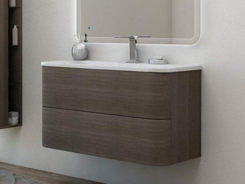 Minoa base lavabo 100 rovere scuro soft iperceramica for Rovere mobili catalog