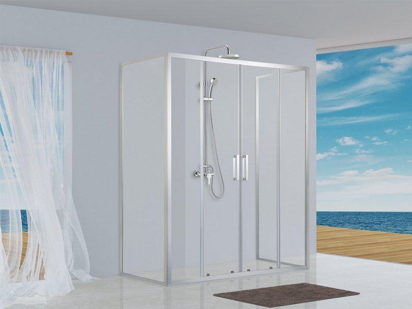 Neptum box doccia 2 ante scorrevoli porta 2 lati fissi 80x140 iperceramica - Ante per doccia ...