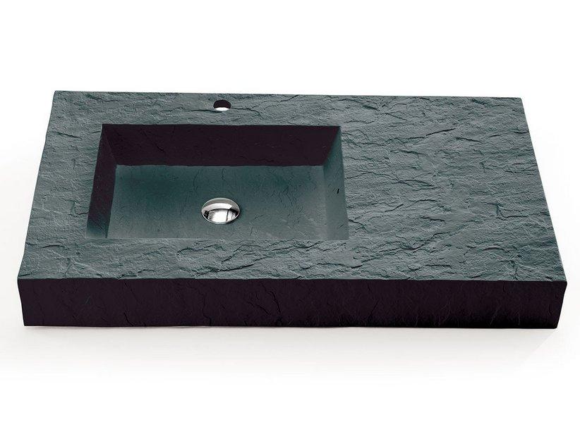 Lavabo top slate 90 sx resina grigio carnico iperceramica - Lavabo bagno in resina ...