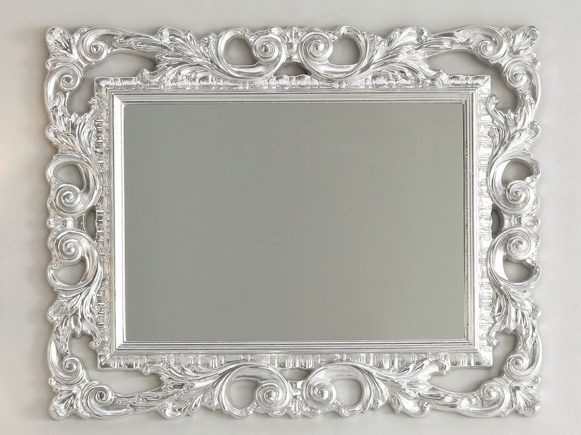 Specchio barocco 94x75 foglia argento iperceramica - Specchio cornice nera barocca ...