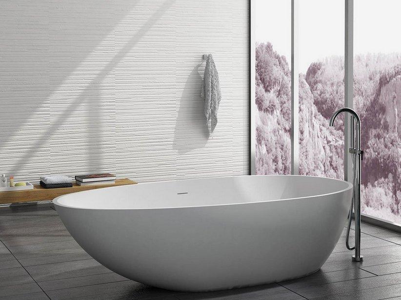 Vasca oval solid surface cm 178x98xaltezza51 iperceramica - Vasca da bagno libera installazione ...